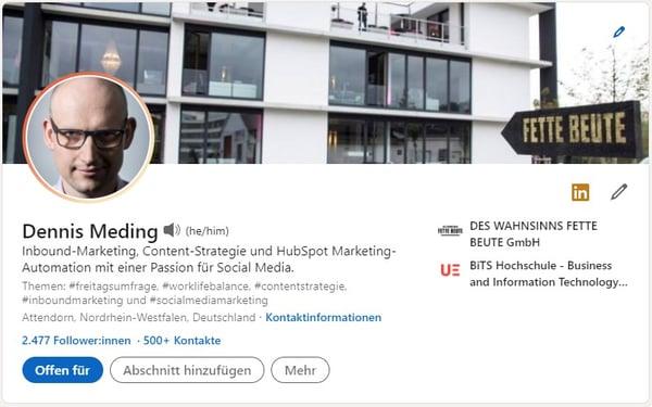 LinkedIn Profil Header