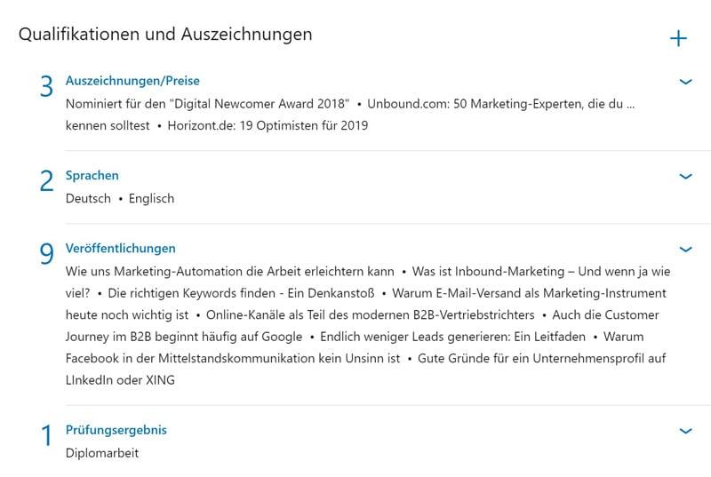 LinkedIn Qualifikationen und Auszeichnungen